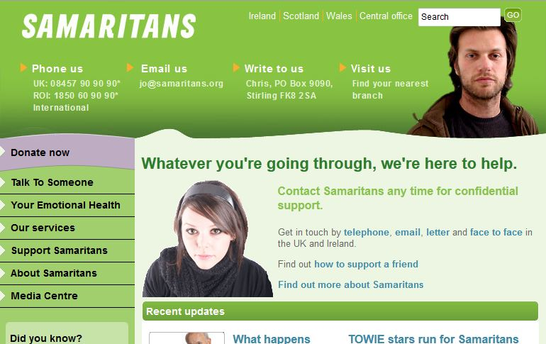 Screenshot of Samiritans.org homepage