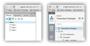 Two versions of the Axure prototype sidebar