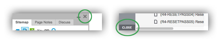 The close buttons on the Axure sidebar