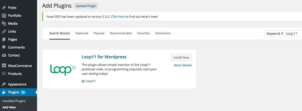 Loop11 within the WordPress dashboard - add plugin